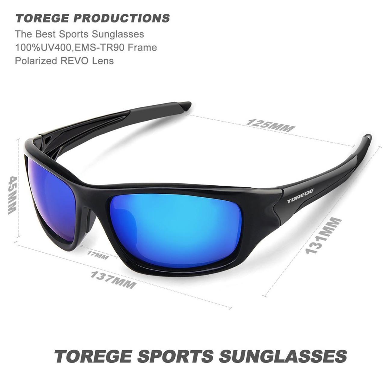 16a109b49f ... TOREGE Men s Fashion Polarized Sunglasses For Driving Glasses TR90  Unbreakable Frame Eyewear Unisex 100% UV400 ...
