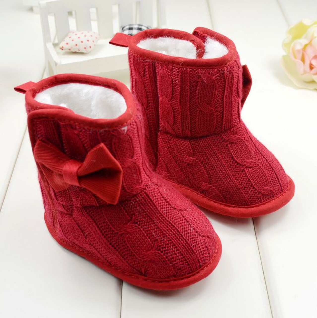 246f277140134 Winter Toddler Fleece Snow Boot Baby Shoes Infant Knitted Bowknot Crib Shoes  Baby Warm Shoes Red ...