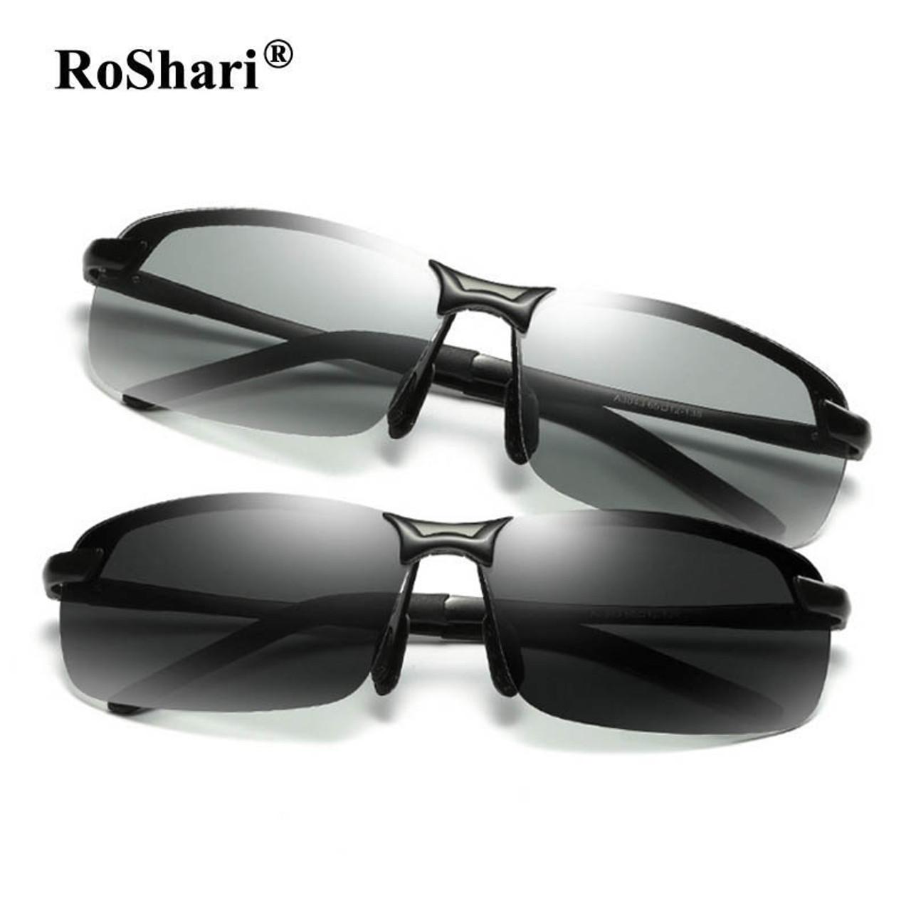 4af1d7b1c8 RoShari Driving Photochromic Sunglasses Men Polarized Chameleon  Discoloration Sun glasses for men ...