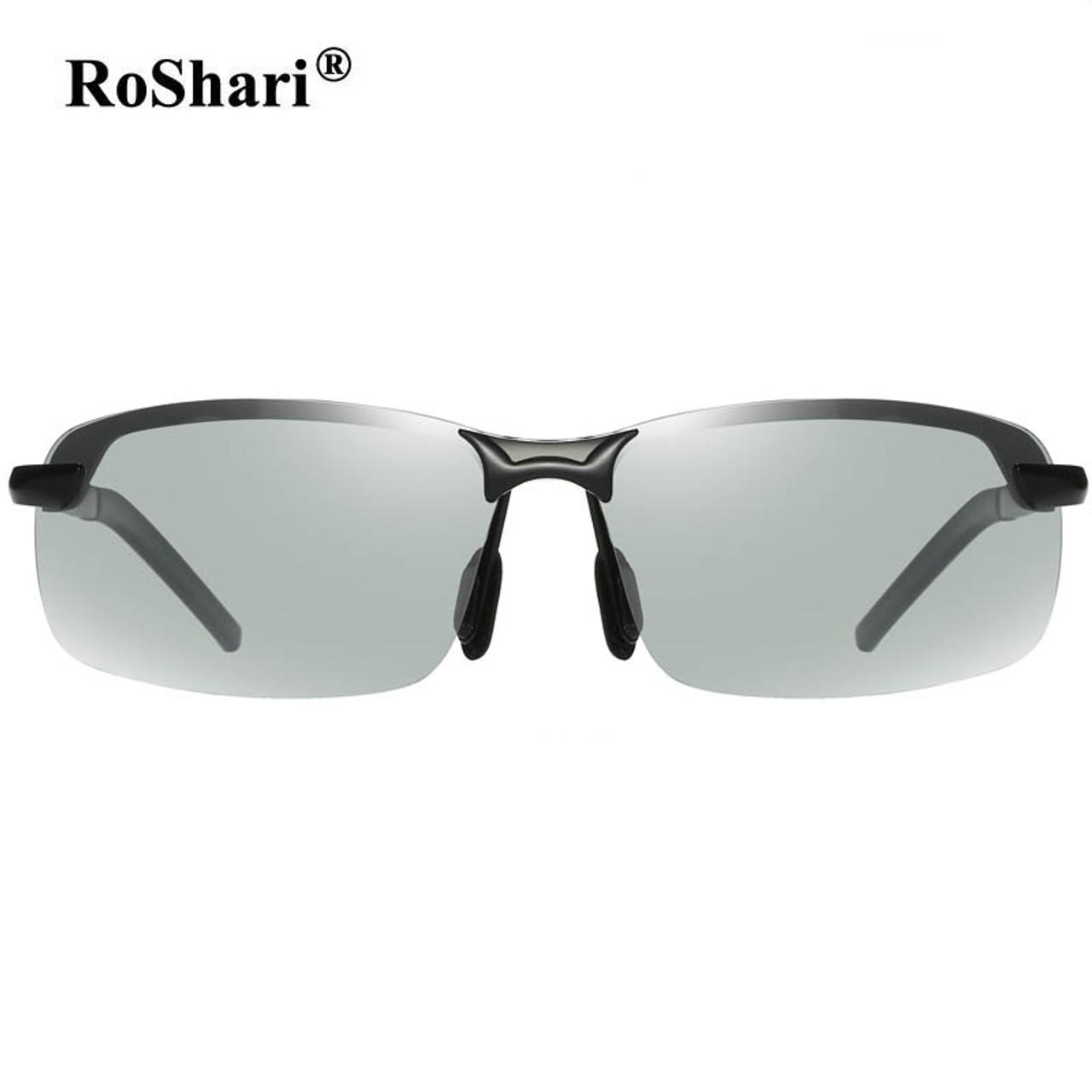 ba95b2467c2 ... RoShari Driving Photochromic Sunglasses Men Polarized Chameleon  Discoloration Sun glasses for men ...