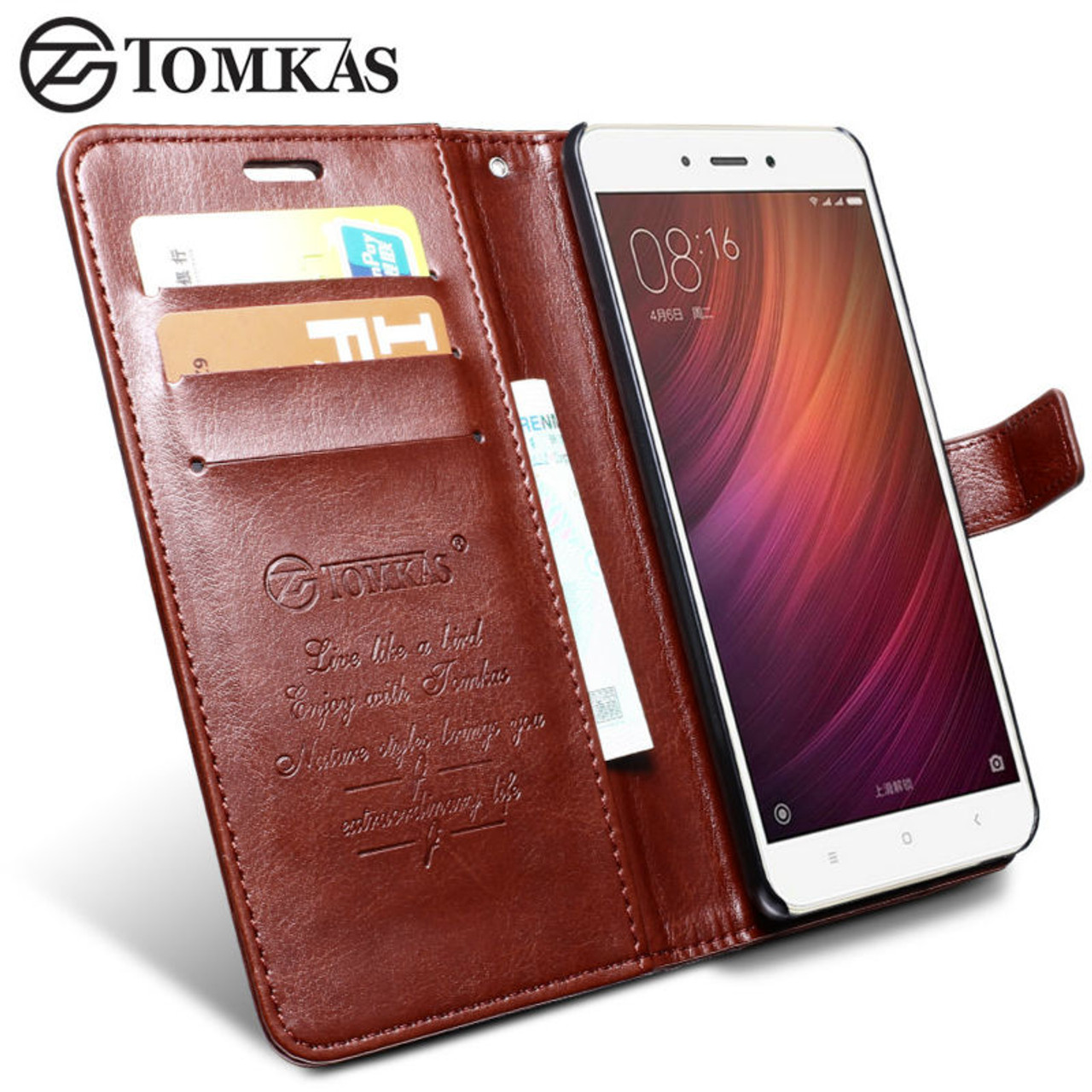 huge selection of b2fa8 e8d83 Xiaomi Redmi Note 4 Case Cover TOMKAS Original Leather Phone Bag Cover Flip  Wallet Coque Case For Xiaomi Redmi Note 4 Prime