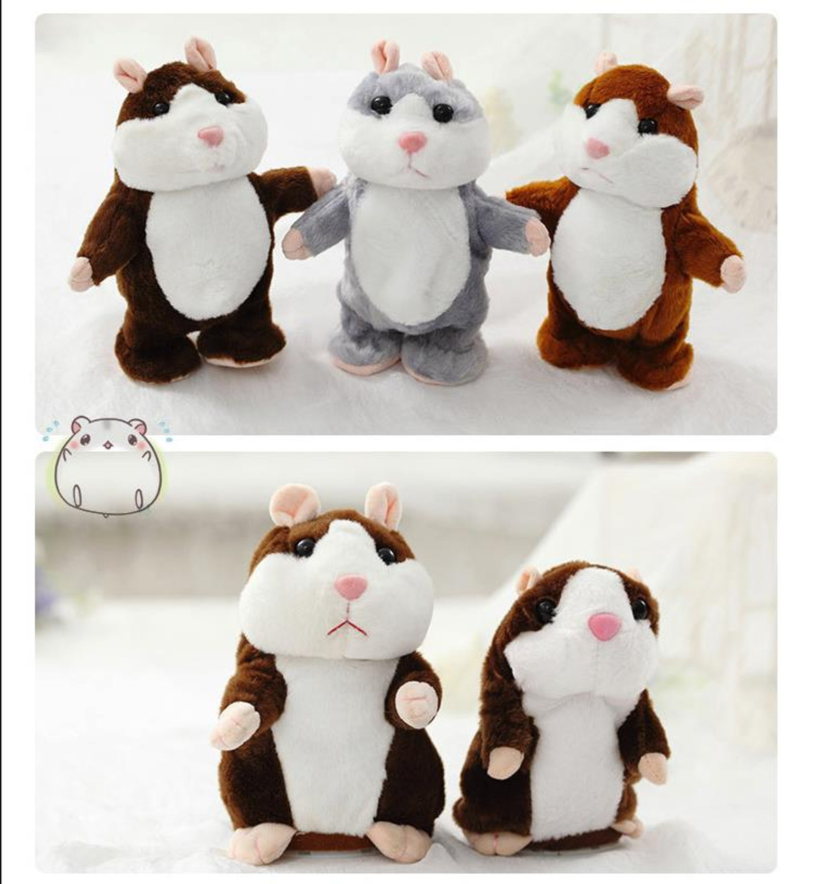 US Cute Talking Hamster Plush Toy Lovely Speaking Sound Record Repeat Kids Toy
