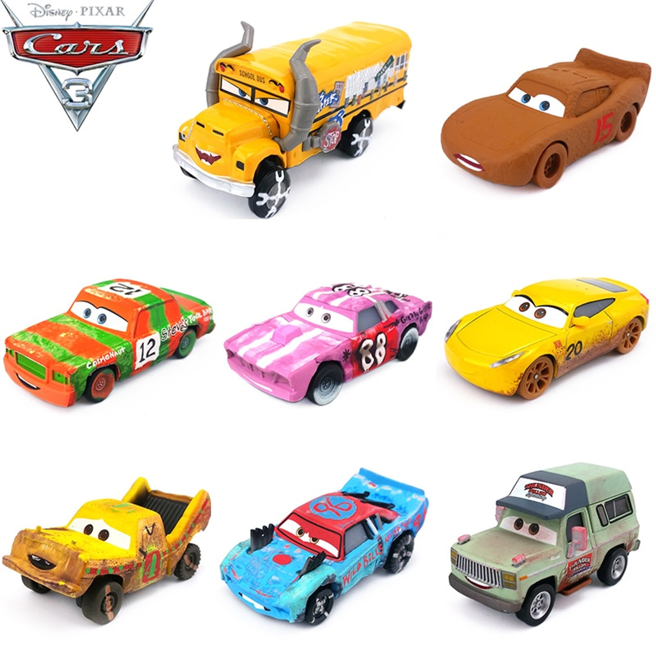 Disney Pixar Cars 2 3 Lightning McQueen Mater Jackson Storm Ramirez 1:55 Diecast