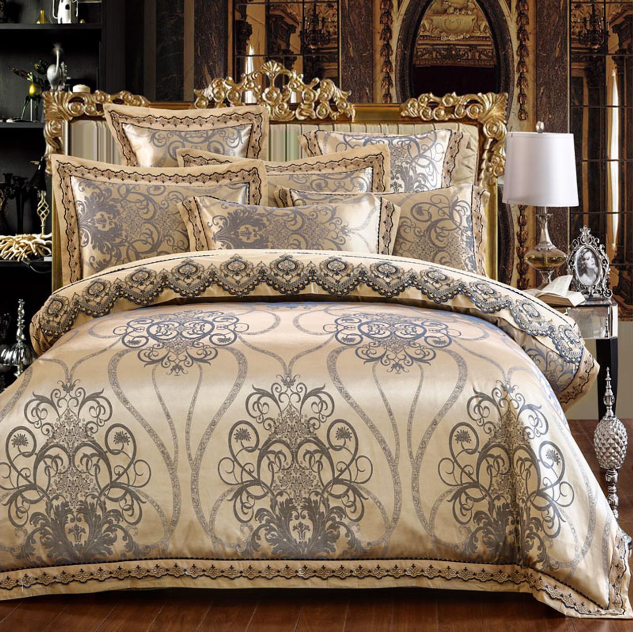 4 6pcs Luxury Royal Bedding Set Stain Jacquard Cotton Lace Double