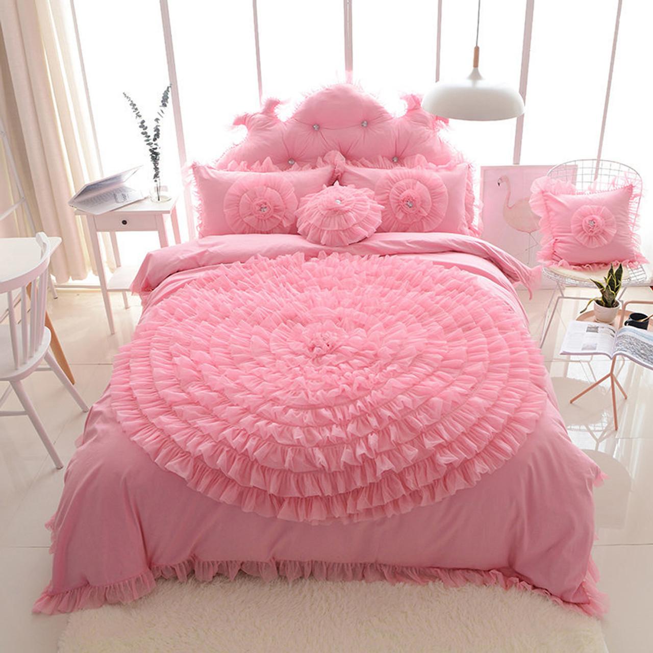 Korean Princess Style Lace Flower Fold Lace Design Duvet Cover Bed Sheet Set 100 Cotton Pink White Blue Red Purple Bedding Set Onshopdeals Com