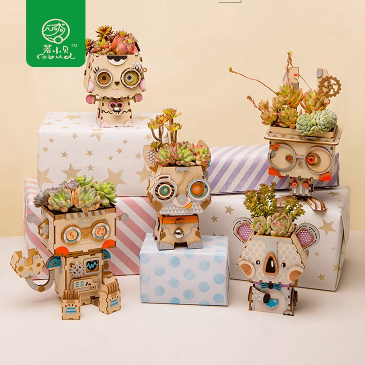 Robud 5 Types Cute Animal Robot Flower Pot Children Adult Creative 3d Wooden Puzzle Game Models Building Kits Toy Ft