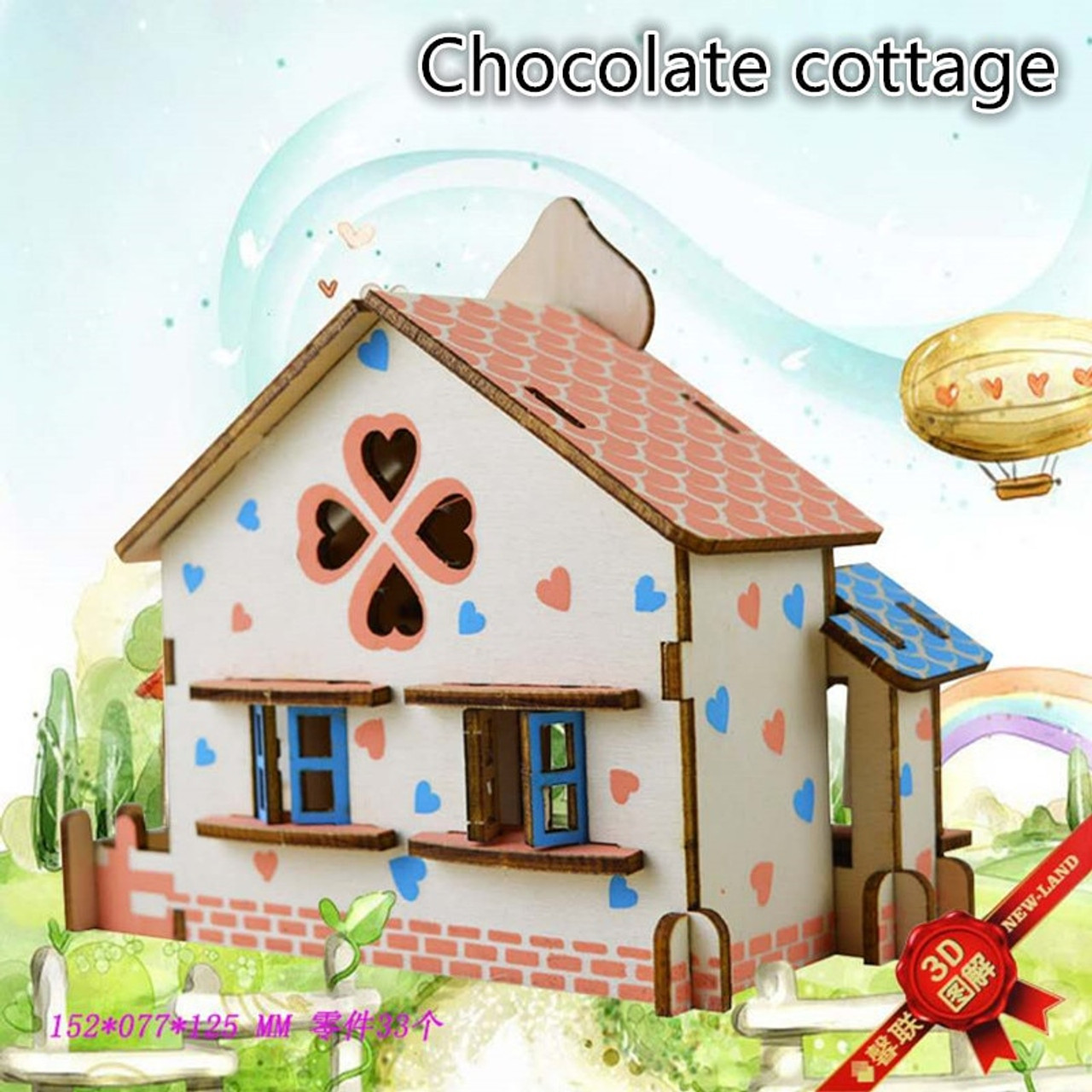 DIY 3D Mode House Toys Kits Romantic House Wood Puzzles Education Toy Model  Building Wooden 3D Puzzle for Kids and Adults