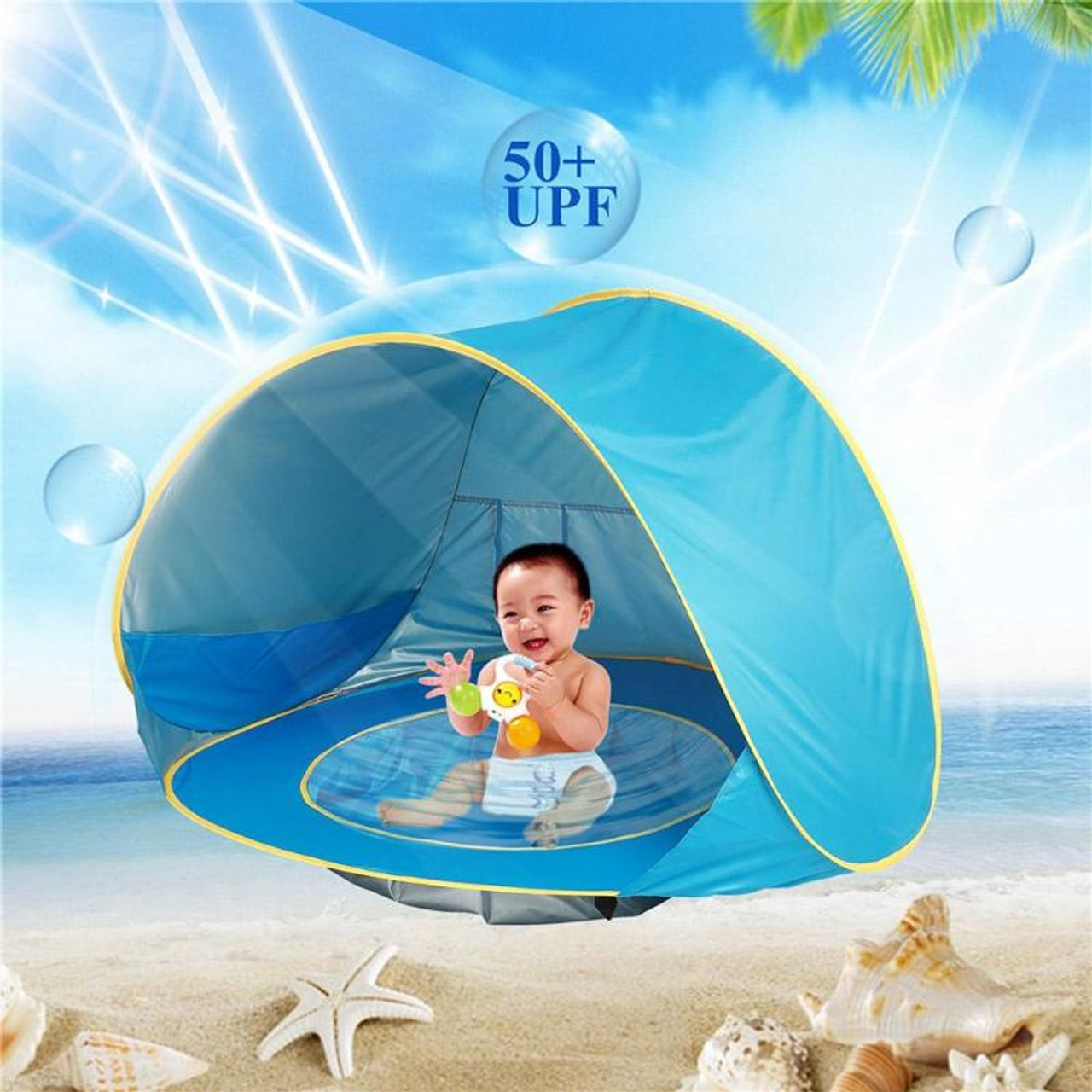 Just Baby Beach Tent Uv-protecting Sunshelter Children Toys Small House Waterproof Pop Up Awning Tent Portable Ball Pool Kids Tents Outdoor Fun & Sports