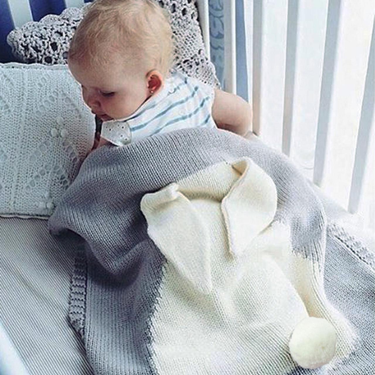 784dd9d23ec9 Cute Baby Blankets Infant Kids Rabbit Soft Warm Wool Swaddle Kids ...