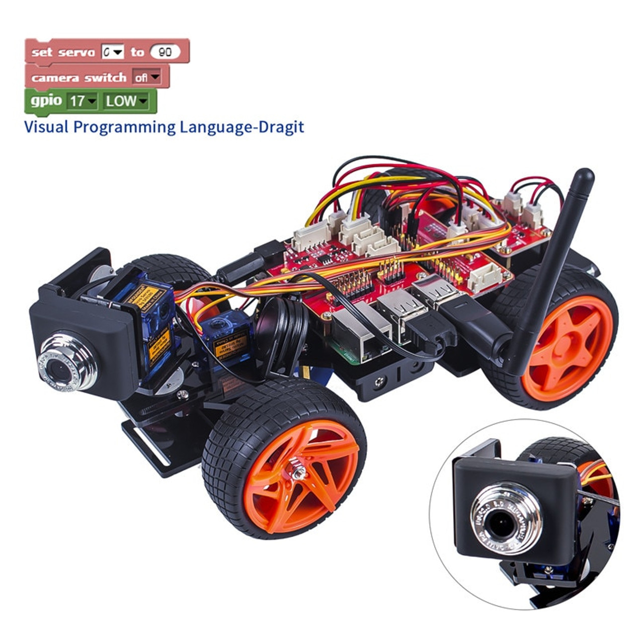 SunFounder Remote Control Robot Kit For Raspberry Pi 3 Smart Video Car Kit  V2 0 RC Robot App Controlled Toys (RPi Not included)