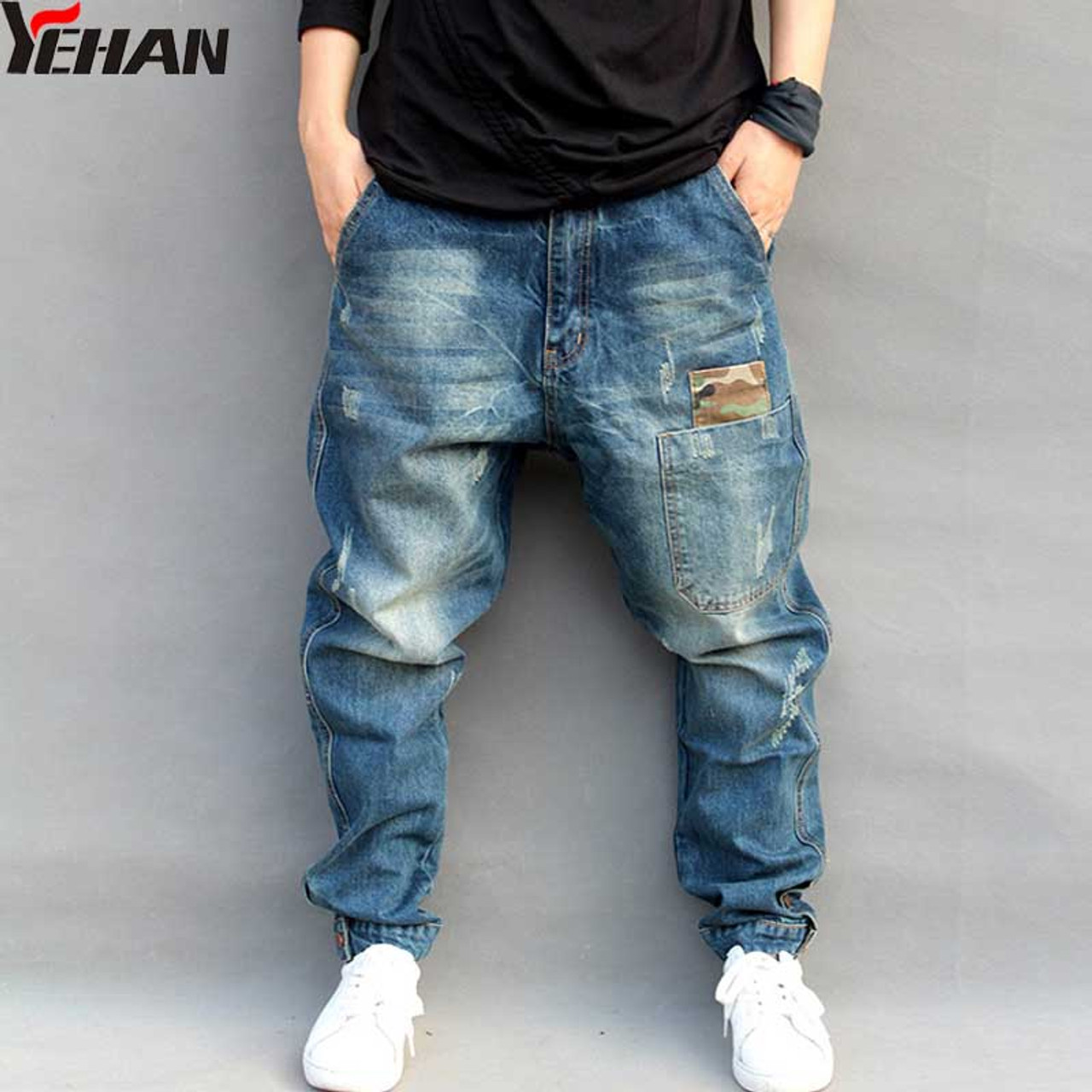 31548a4ac99 Men s Jeans Plus Size Stretchy Loose Tapered Harem Jeans Cotton Breathable  Denim Jeans Baggy Jogger Casual ...