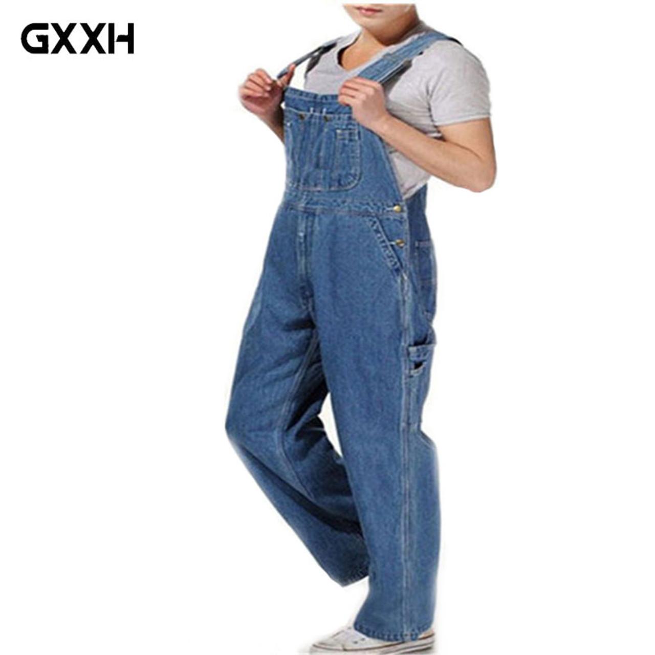 debe64ef4e0b Hot 2018 Men s Plus Size 26-44 46 Overalls Large Size Huge Denim Bib Pants  ...