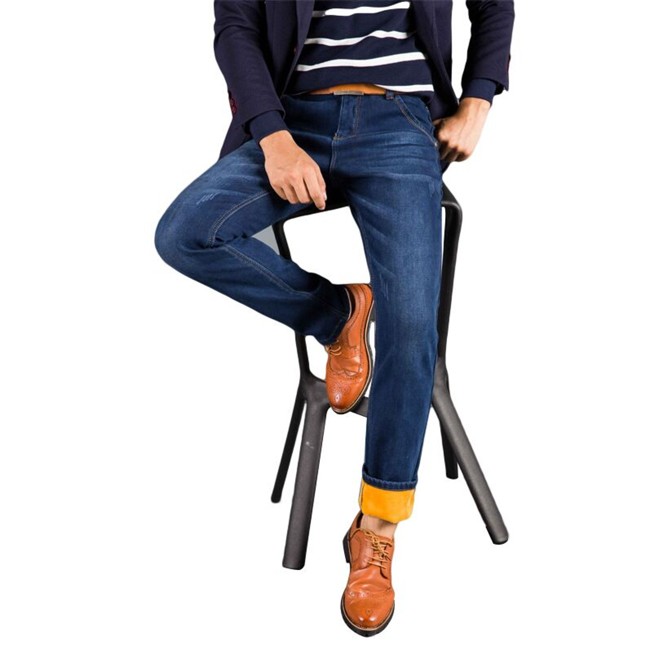 938e10c7d5 ... 2018 Winter New Men s Warm Jeans Business Casual Elasticity Thick Slim Denim  Pants Brand Trousers Black ...