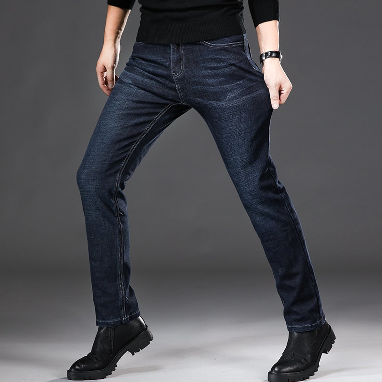 aca00a45518 ... 2018 Autumn New Men s Brand Jeans Business Casual High Quality Fashion  Embroidery Trousers Male Slim Fit ...