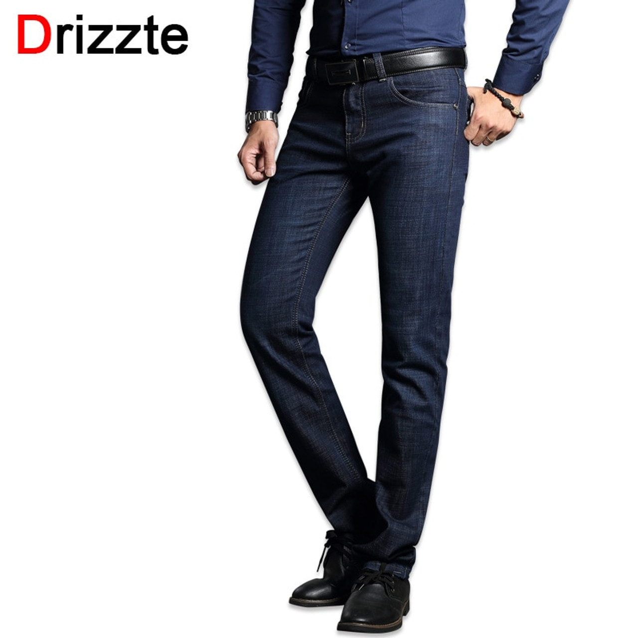 746b46e2 Drizzte Men's Jeans Blue Denim Business Stragiht Silm Fit Jeans Size 30 32  34 35 36 38 Pants Jean for Men - OnshopDeals.Com