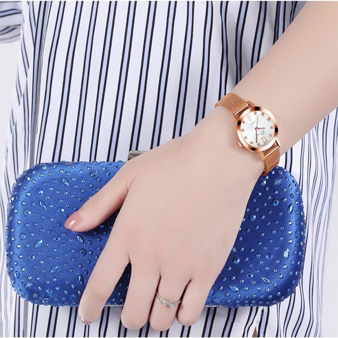 Lady Dress Watch Lovers Metal Mesh Band Fashion Quartz Wrist Watch Relogio Masculino Watches