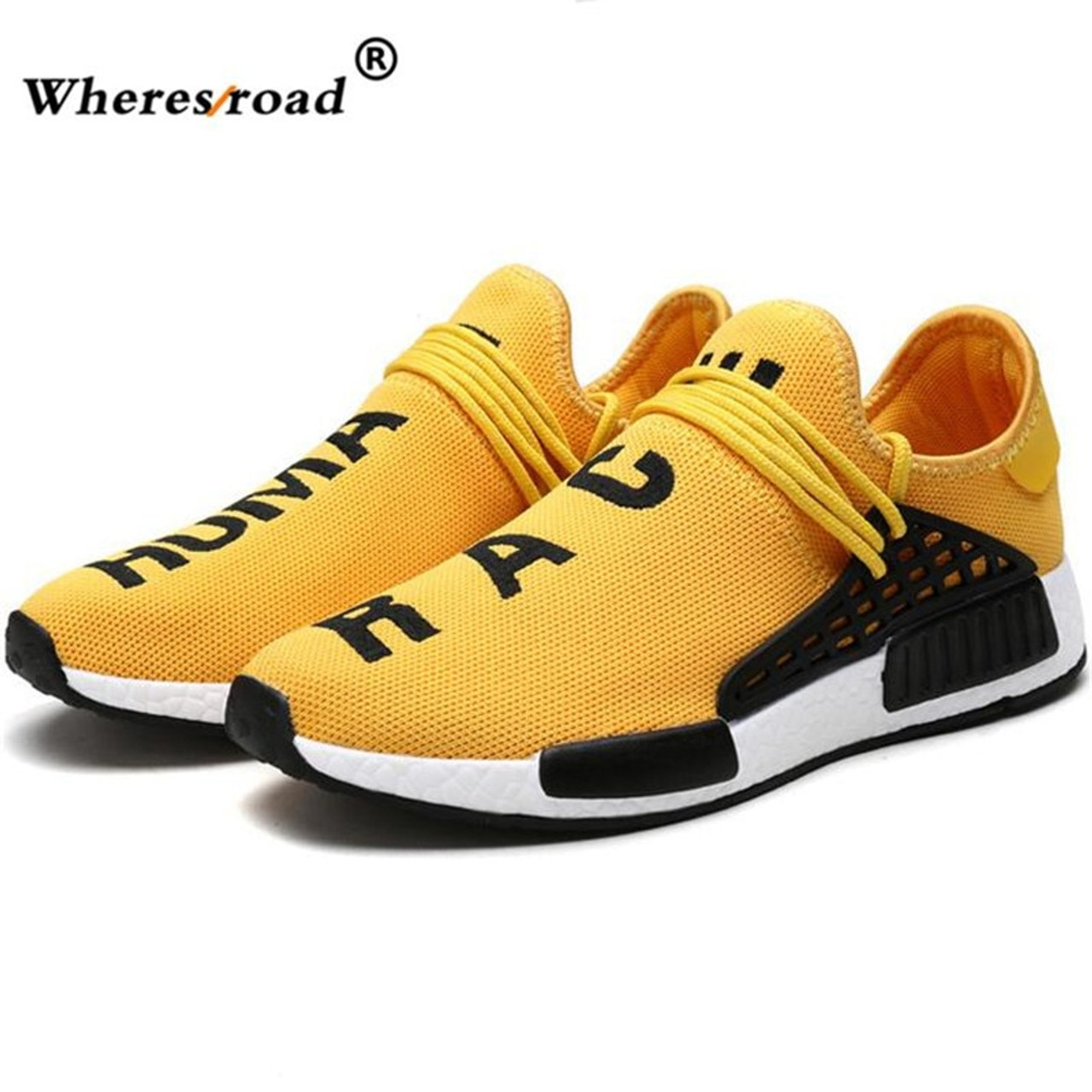 64eb71848 2018 wheresroad Human Race Yellow Casual Shoes Men s Comfortable Fashion  Sneakers Light Summer Spring Man Ultra ...