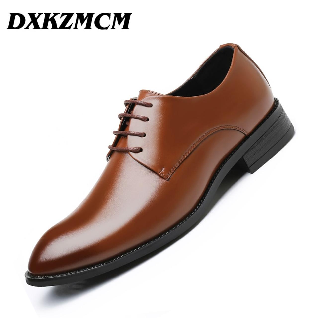 4872e70b182 DXKZMCM Men Dress Shoes Men Formal Shoes Leather Luxury Wedding Shoes Men  Oxford Shoes Big Size ...