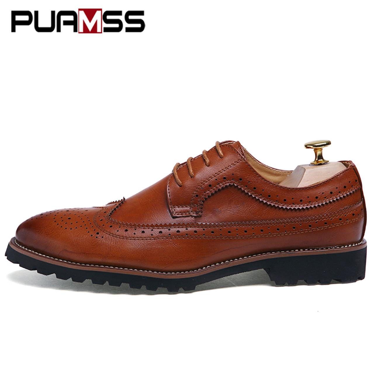 ffea0a20048 Men s Dress Shoes Fashion Brogue Floral Pattern Men Formal Shoes Leather  Luxury Wedding Shoes Red Wine Men Oxford Plus Size 45
