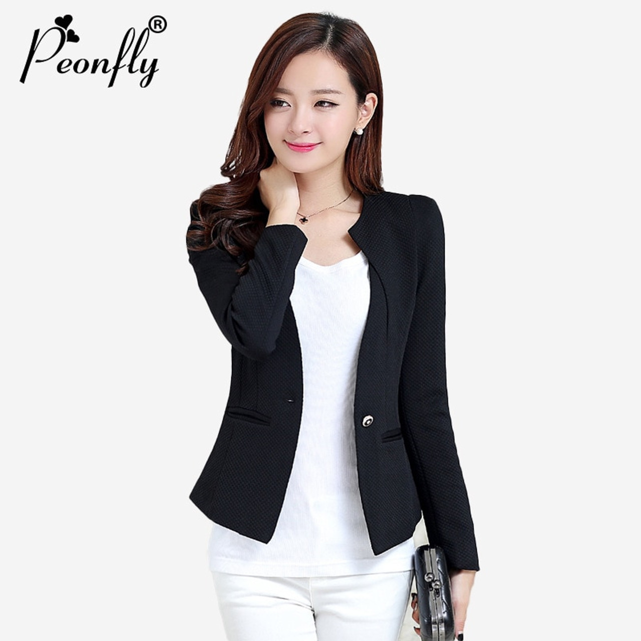 8a1e5a35c2073 2018 Spring Autumn Winter Women Slim Blazer Coat Plus Size3XL Casual Jacket  Long Sleeve One Button Suit Lady Blazers Work Wear