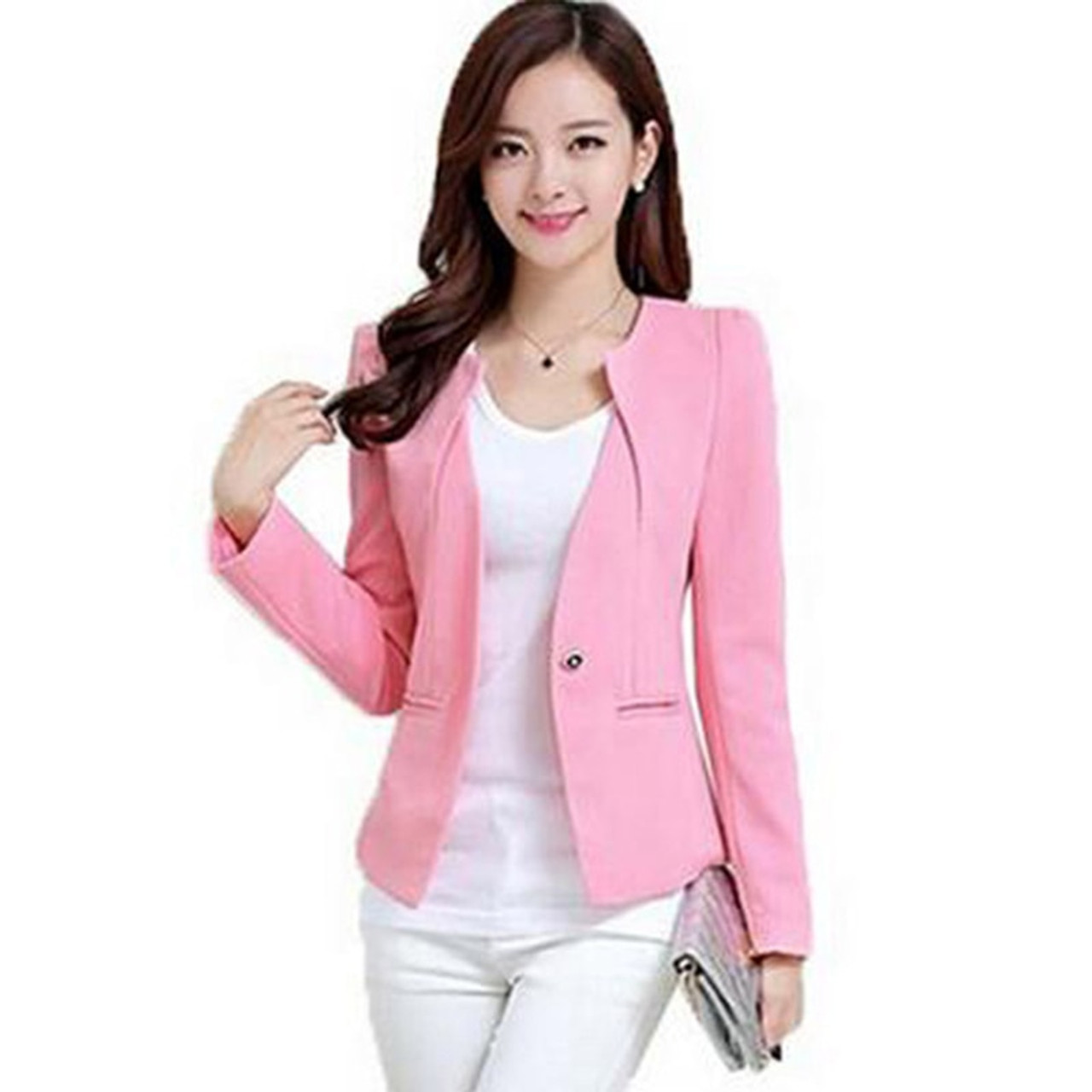 7bb5567d49b ... 2018 Spring Autumn Winter Women Slim Blazer Coat Plus Size3XL Casual Jacket  Long Sleeve One Button ...