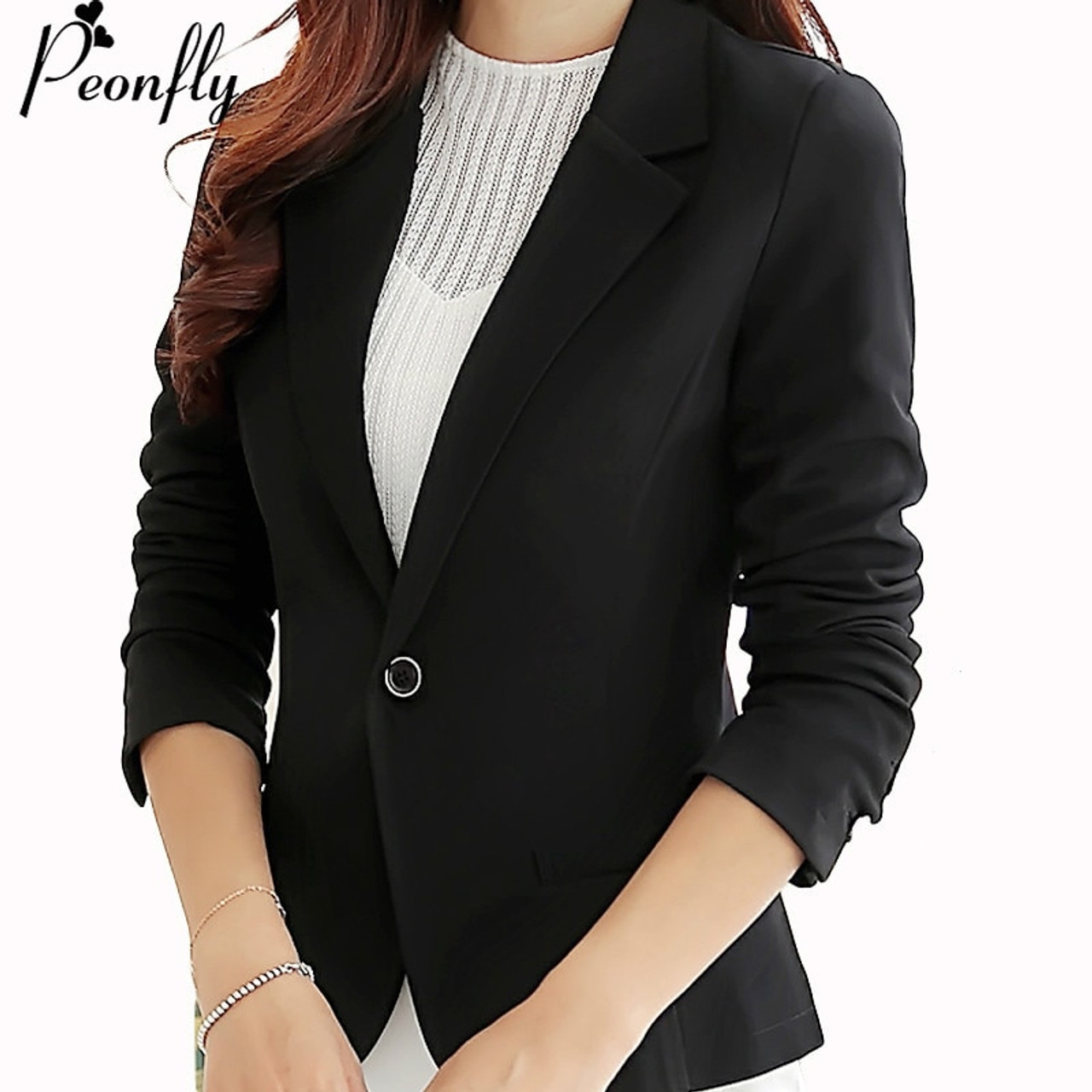 4536e1606bd65 ... PEONFLY Blazer Women New Arrivals Ladies Blazers Sleeve Long Business  Office Suit Jackets Female Blue Purple ...
