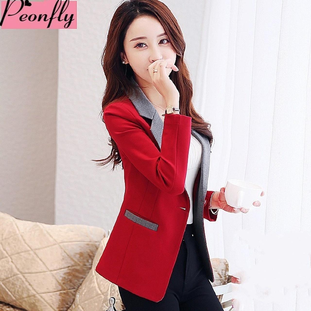 3828515834b PEONFLY high quality Autumn Spring Women s Blazer Elegant fashion Lady  Blazers Coat Suits Female Big S ...