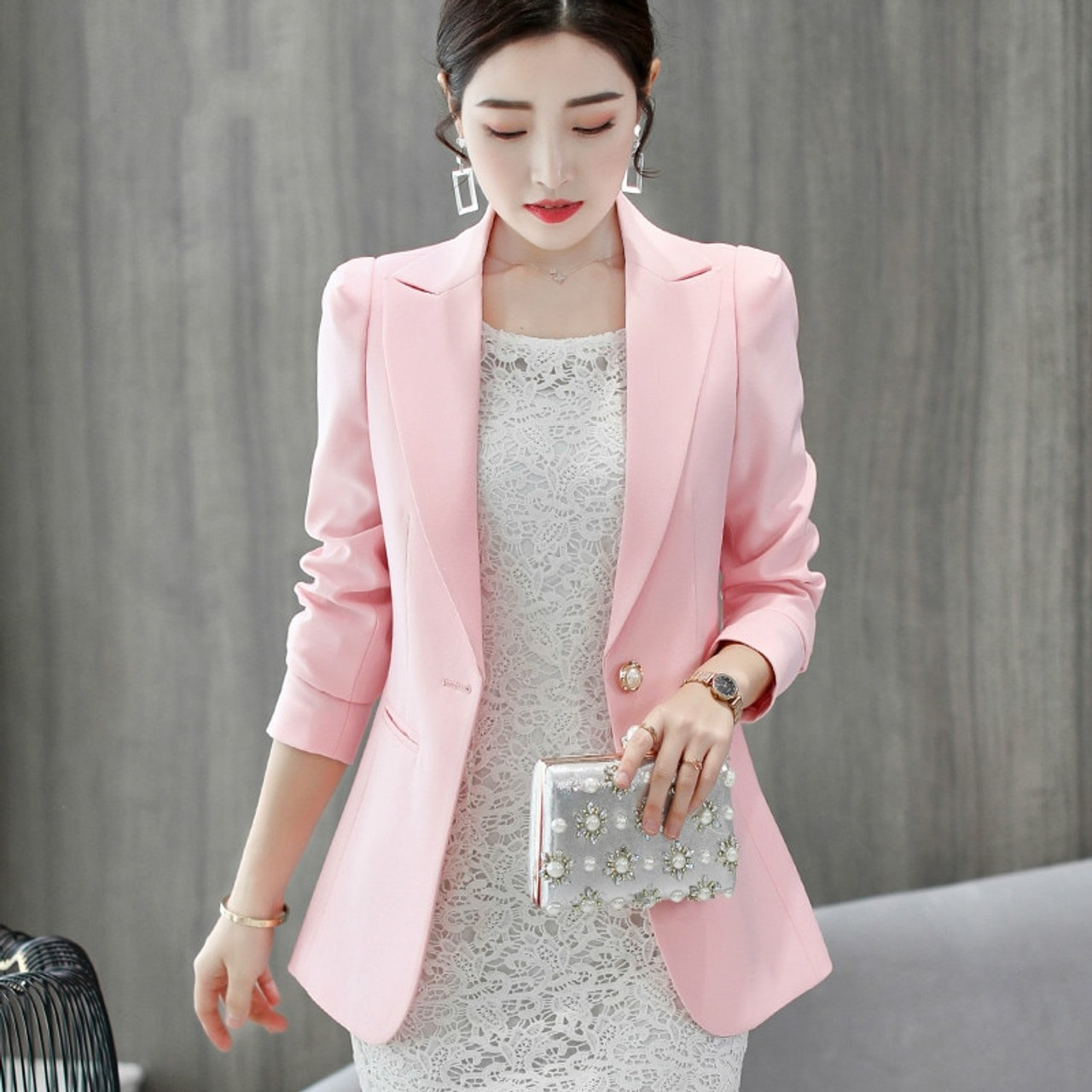 Back To Search Resultswomen's Clothing Suits & Sets Fashion Spring Autumn Women Blazers And Jackets Work Office Lady Suit Slim White Black Blue Button Business Female Blazer Coat
