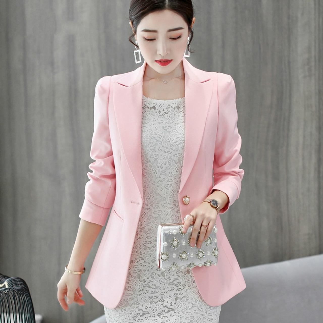 00ef21e1463 PEONFLY New Solid Color Black Simple Women Blazers Suit Slim Jacket Work  Wear Office Female Elegant ...