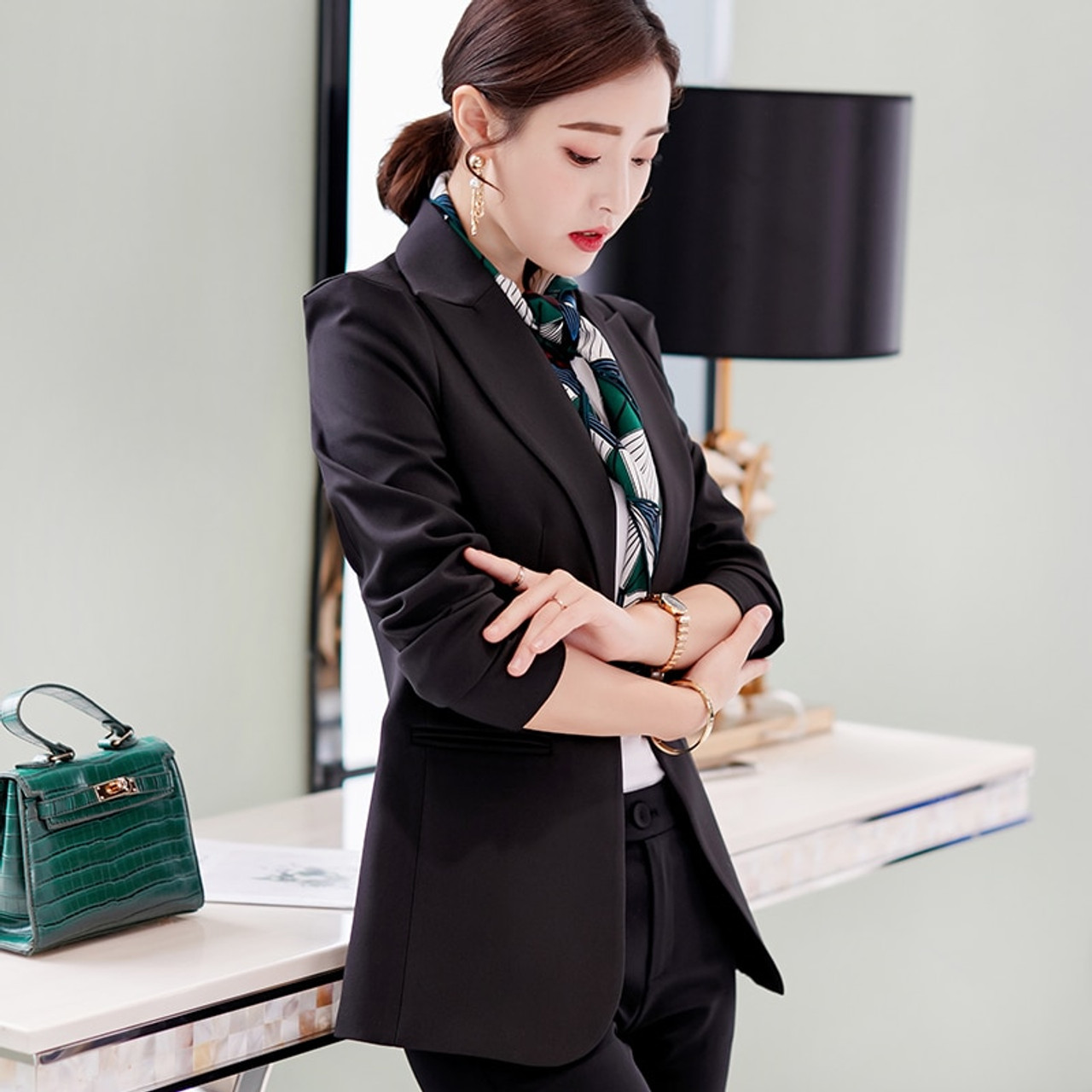 9e2a9d181ab68 PEONFLY New Solid Color Black Simple Women Blazers Suit Slim Jacket Work  Wear Office Female Elegant Business Coats Autumn Winter
