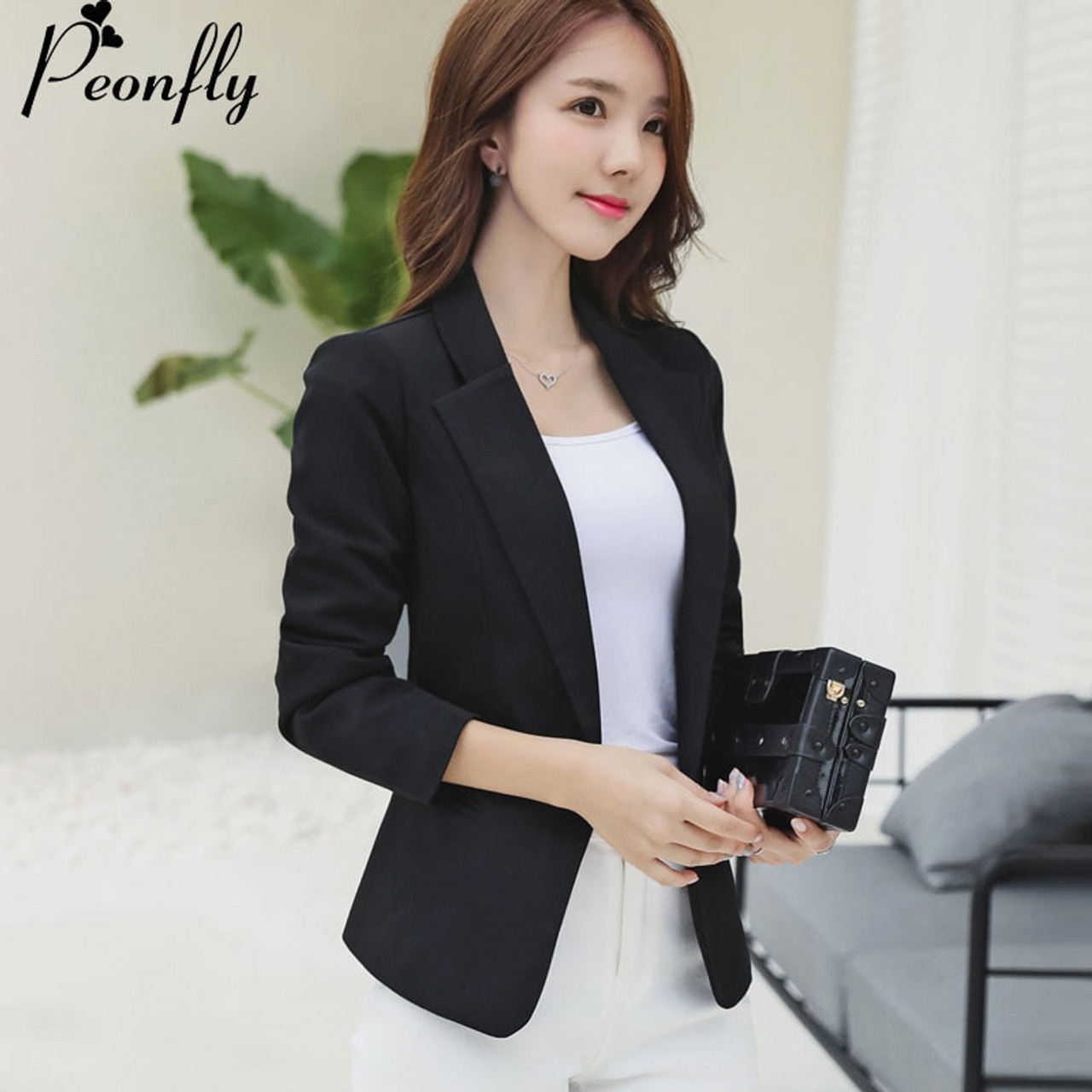 51ad951d9560 PEONFLY Ladies Blazer 2018 Long Sleeve Blaser Women Suit jacket Female  Feminine Blazer Femme Black Blazer ...