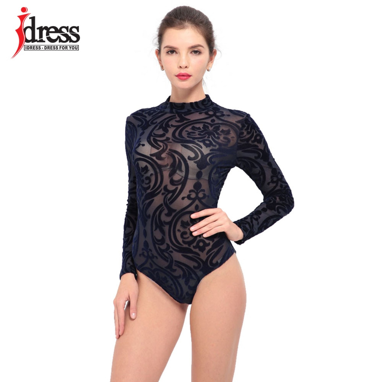 Women's Clothing Transparent Bodysuit Women High Neck Bodycon Party Rompers Jumpsuits See Through Mesh Body Tops Women Bodysuits Buy One Get One Free