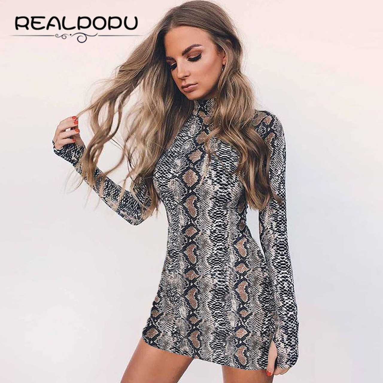 c07f3bdfb5b9 ... Realpopu snake skin Turtleneck Long Sleeve Bodysuit Sexy Bodycon Fashion  Romper Womens Jumpsuit Overall Knitted Combinaison ...