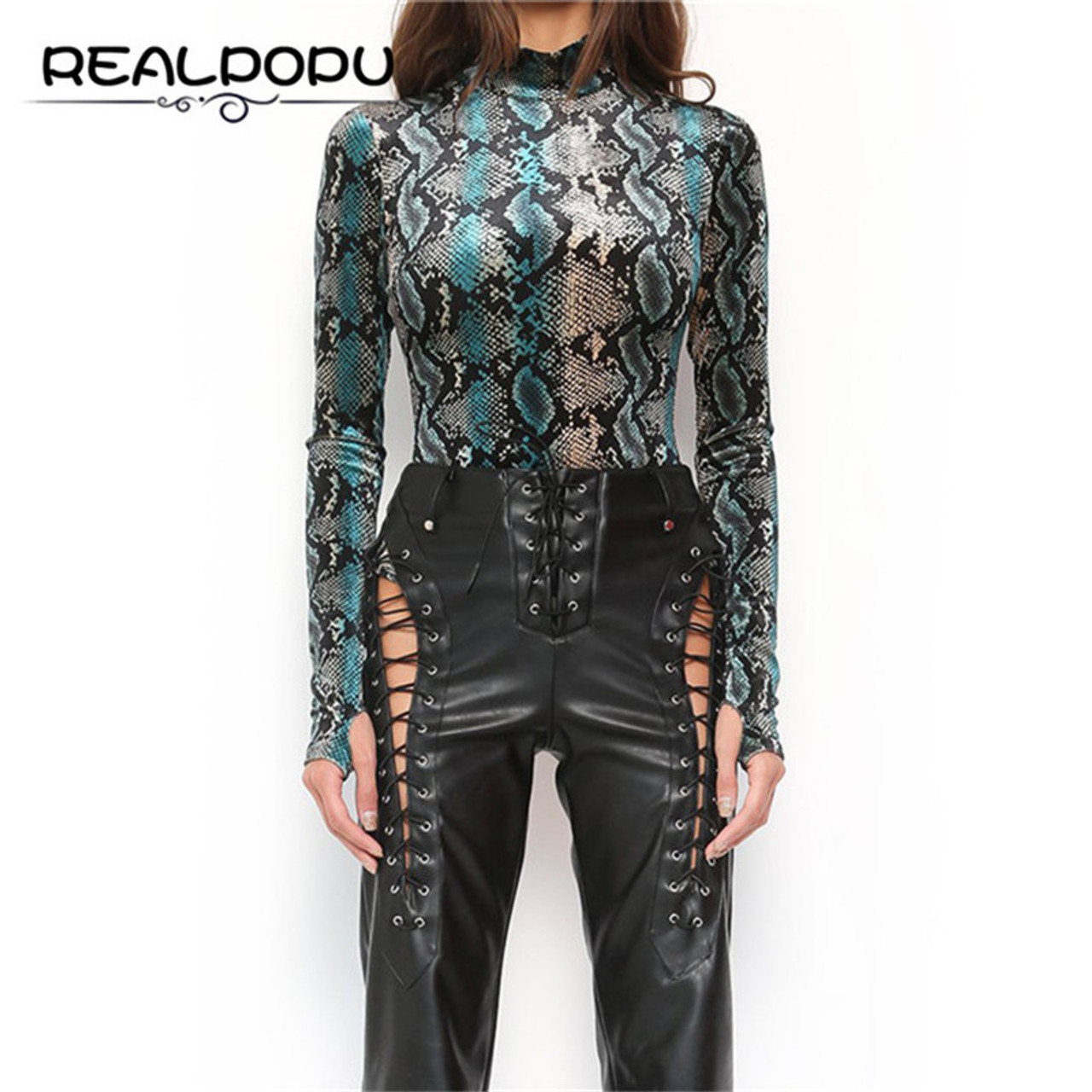 a6e84daffc7 ... Realpopu snake skin Turtleneck Long Sleeve Bodysuit Sexy Bodycon  Fashion Romper Womens Jumpsuit Overall Knitted Combinaison ...