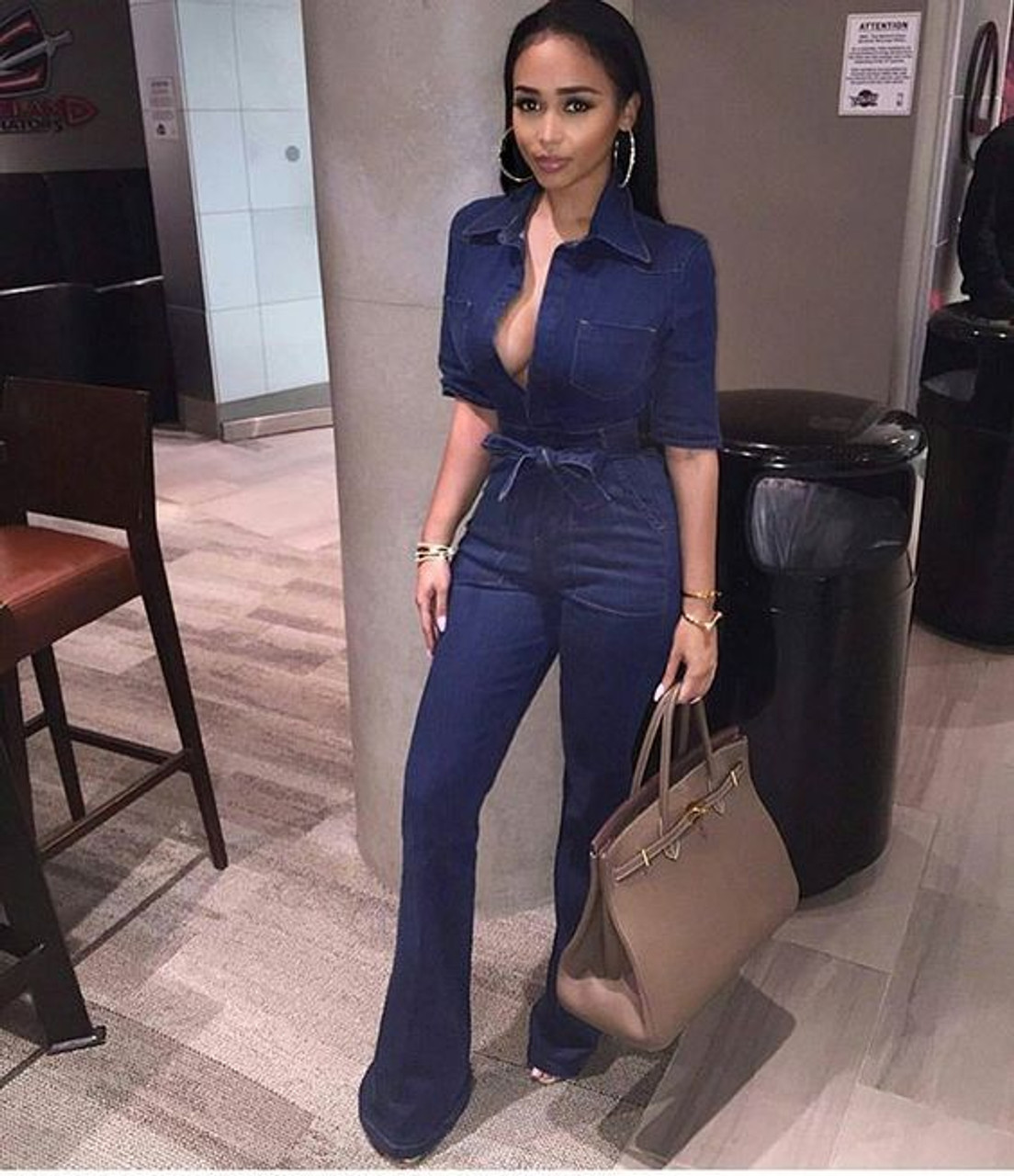 Casual Denim Romper Jumpsuits For Women Solid One Piece Body Mujer