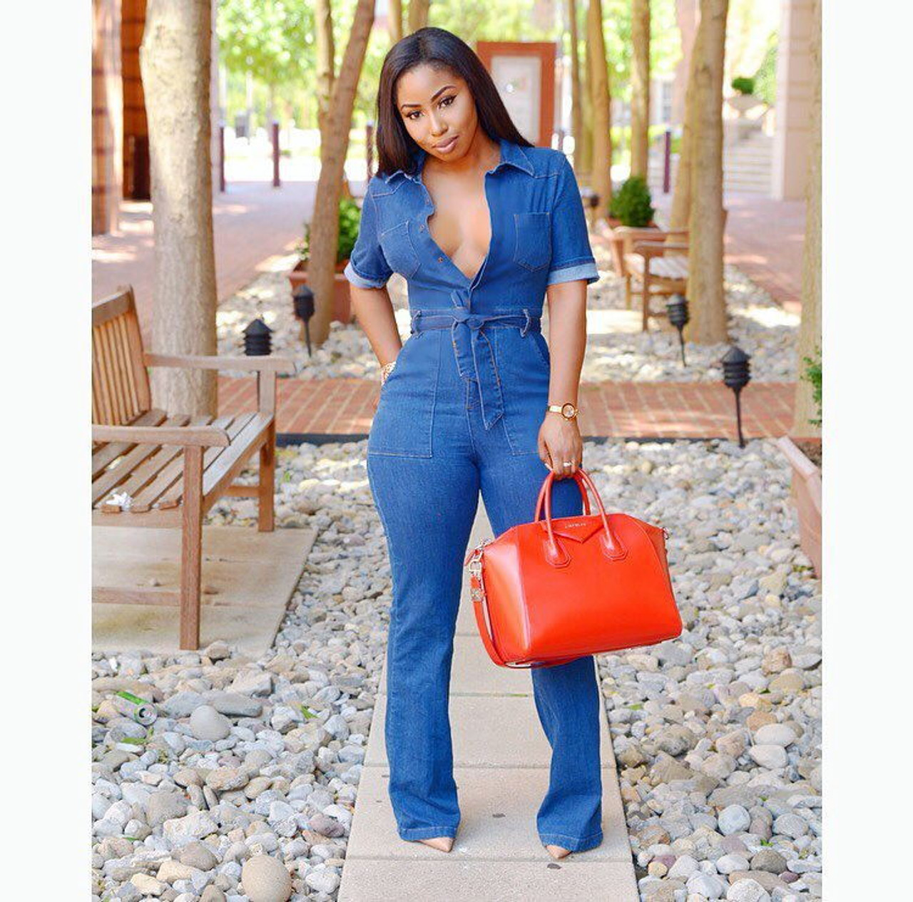 paras laatu hinta alennettu parhaat Casual Denim Romper Jumpsuits for Women Solid One Piece Body Mujer Jean  Jumpsuits with Sashes Summer Blue Overalls Plus Size