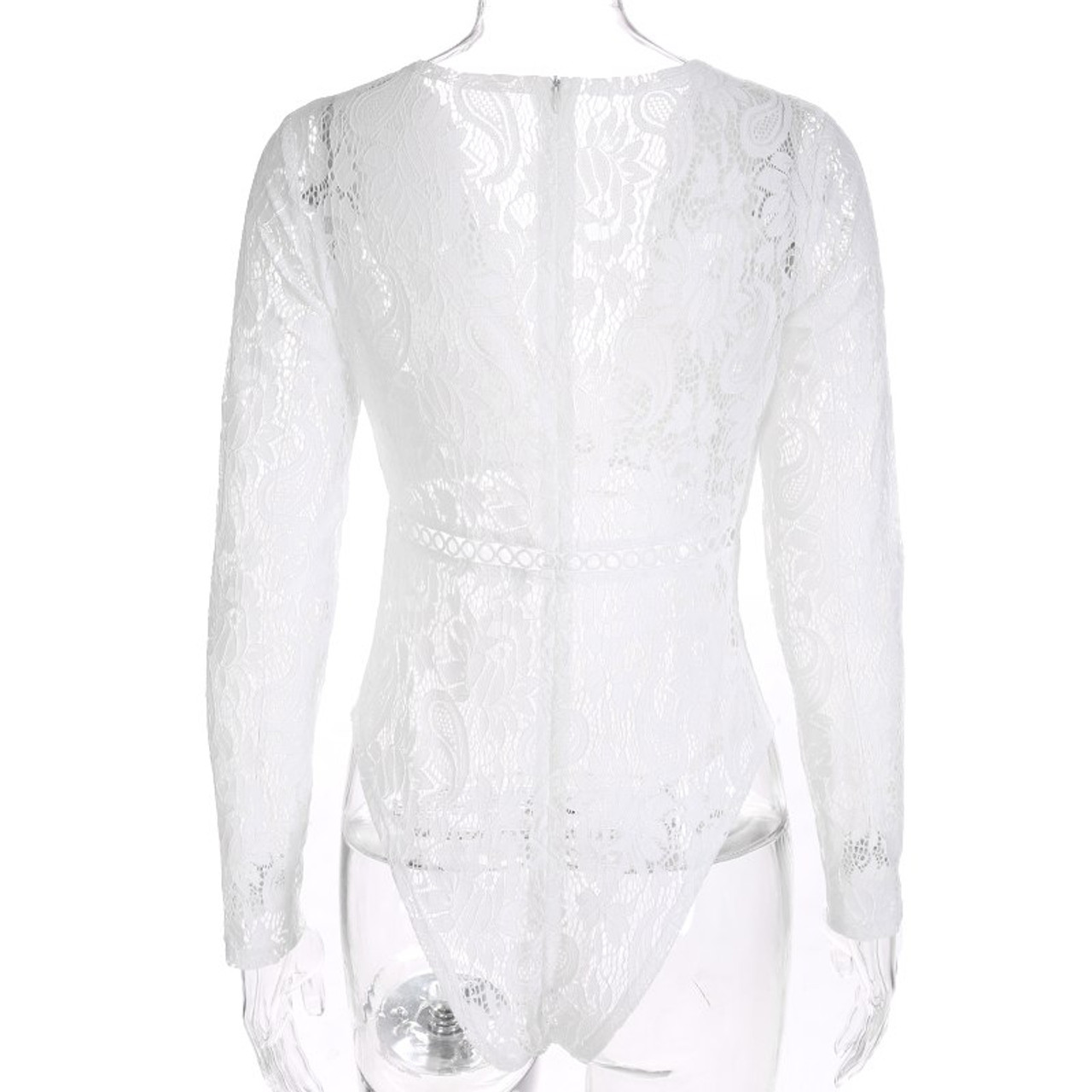 e1eb2f905 ... Sweetown Long Sleeve Lace Bodysuit Elegant Shirt Women White Spring  Summer 2019 Body Mujer Sexy Transparent