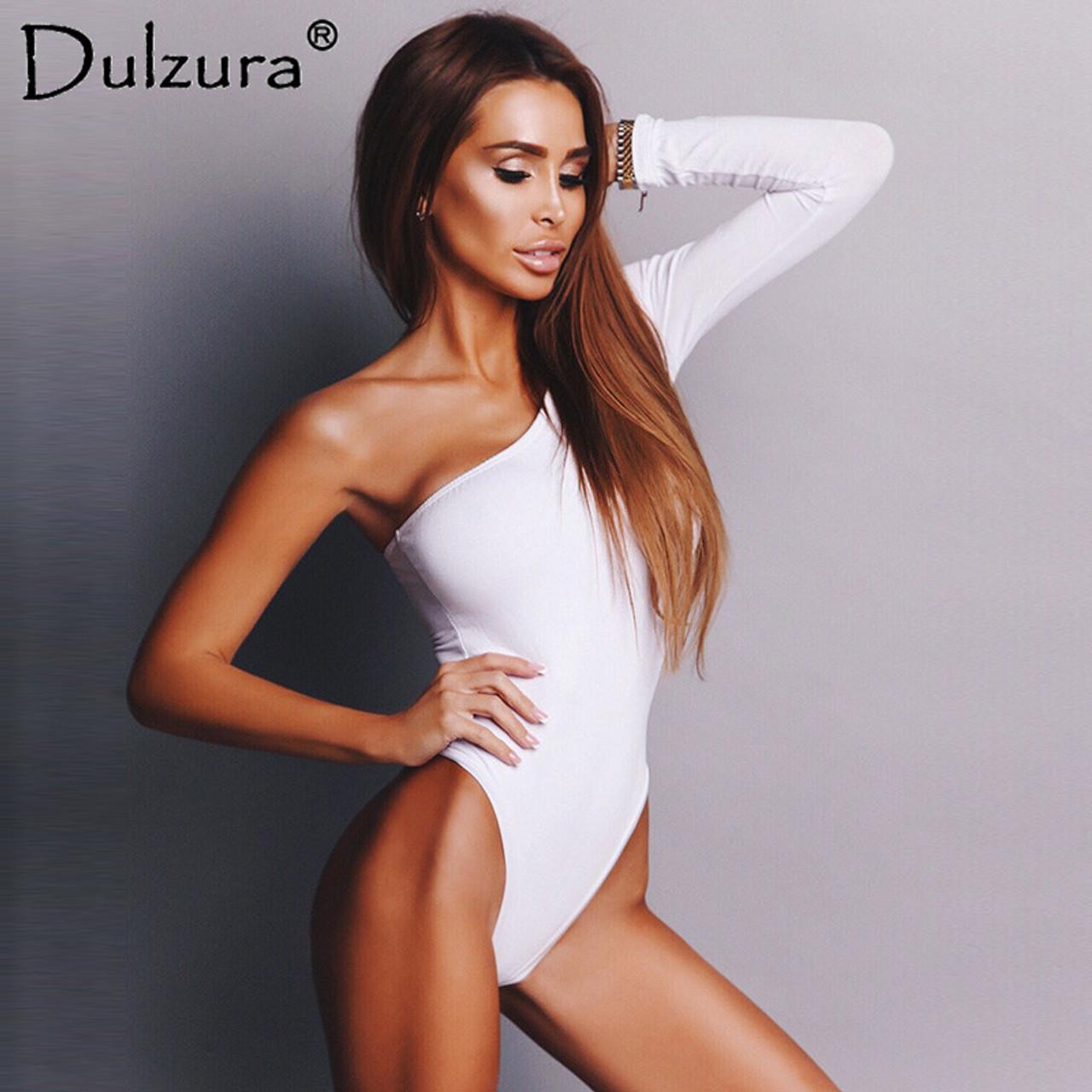 42297c66c1 ... Dulzura cotton slope one shoulder single long sleeve bodysuit 2018  summer autumn women sexy white black ...