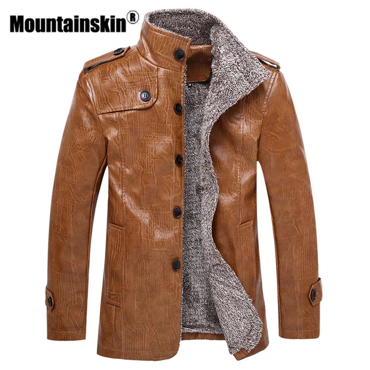d656572da Mountainskin Winter Men's Leather Jackets 7XL 8XL Stand Collar Long Coats  Men Windbreaker Fleece PU Leather Male Jacket SA375