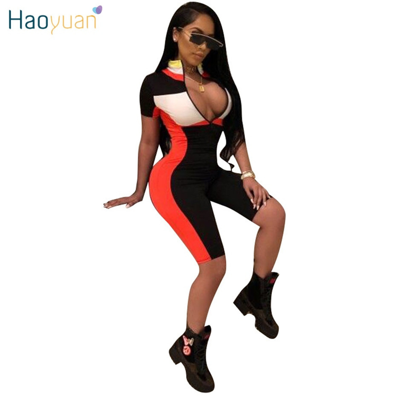 HAOYUAN Sexy Playsuit 2019 New Fitness Shorts Bodysuit Short Sleeve Casual  Body Summer Overalls Zip Up Rompers Womens Jumpsuit - OnshopDeals.Com 35245e25fd