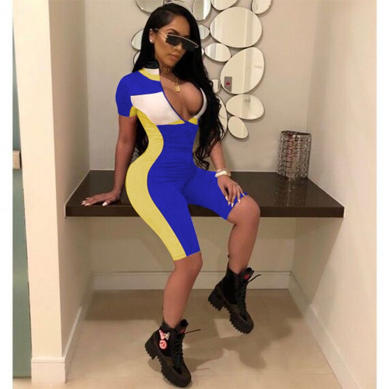 98872e7115e ... HAOYUAN Sexy Playsuit 2019 New Fitness Shorts Bodysuit Short Sleeve  Casual Body Summer Overalls Zip Up ...