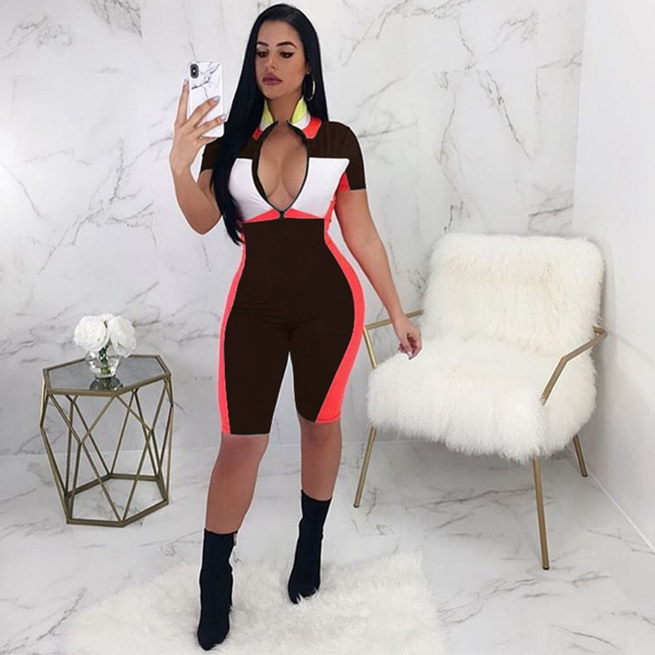 19e3d9145ad1 ... HAOYUAN Sexy Playsuit 2019 New Fitness Shorts Bodysuit Short Sleeve  Casual Body Summer Overalls Zip Up ...