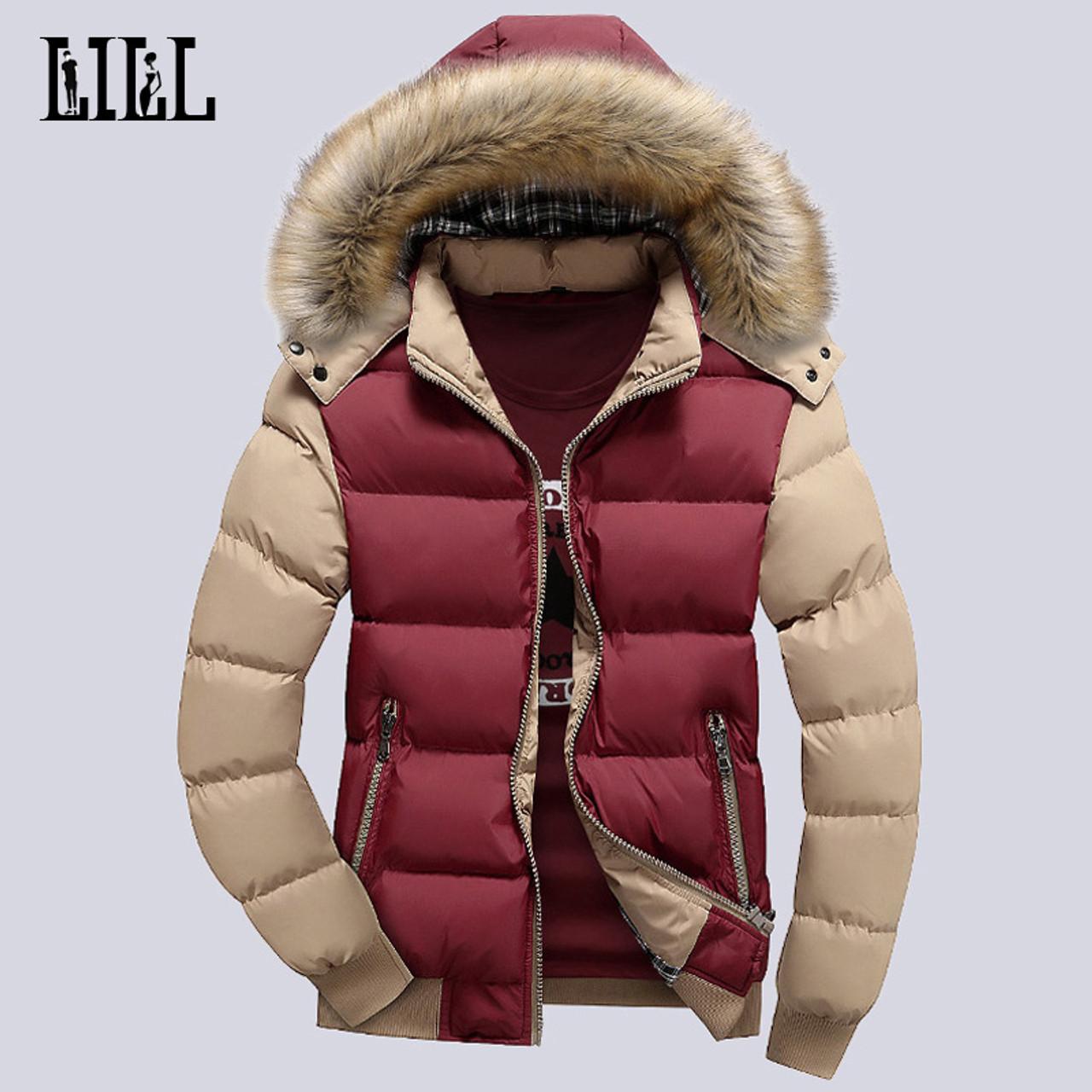 a74fc0e6b474 9 Color Fashion Brand Winter Men's Down Jacket With Fur Hood Hat Slim Men  Outwear Coat ...