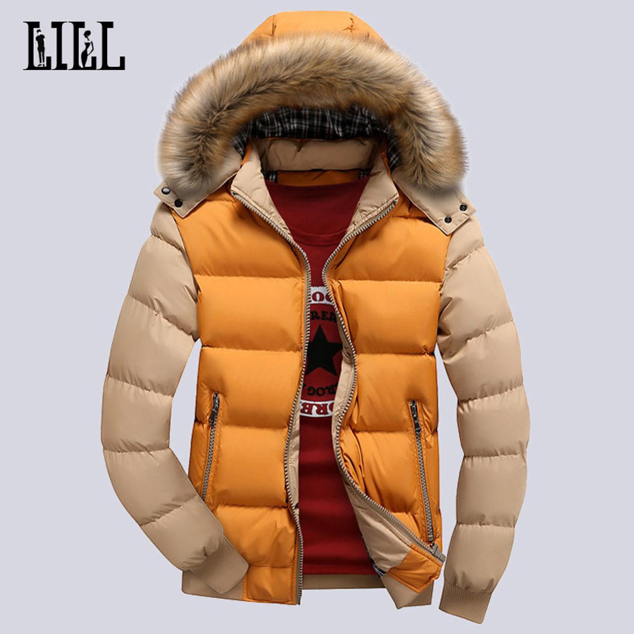 f7a3d7deac50 ... 9 Color Fashion Brand Winter Men's Down Jacket With Fur Hood Hat Slim  Men Outwear Coat ...