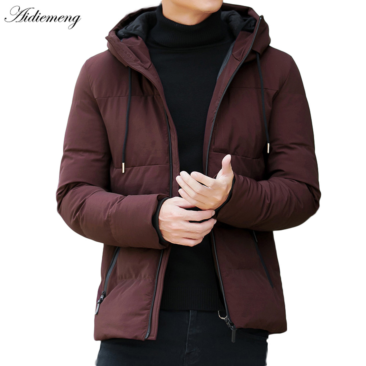 pretty nice 46f2f 99783 Winter Jacket Men Parka Fashion Hooded Jacket Slim Cotton Warm Jacket Coat  Men Solid Colo Thick Down Parka Male Outwear Clothing