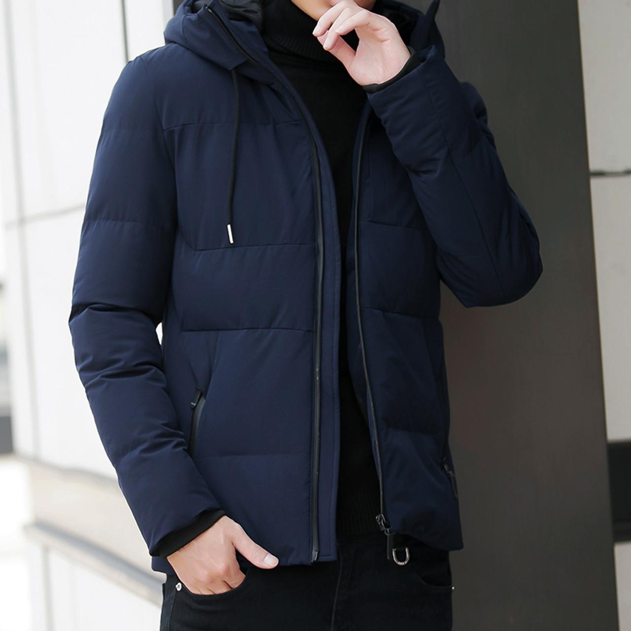 ec8f24b53da ... Winter Jacket Men Parka Fashion Hooded Jacket Slim Cotton Warm Jacket  Coat Men Solid Colo Thick ...