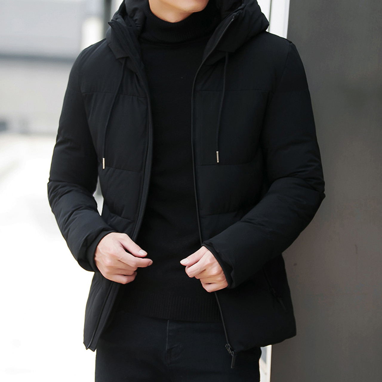 b2db7844d Winter Jacket Men Parka Fashion Hooded Jacket Slim Cotton Warm Jacket Coat  Men Solid Colo Thick Down Parka Male Outwear Clothing