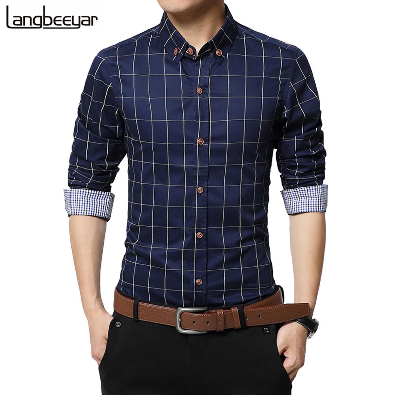 49f2b7d6d2d9 New Autumn Fashion Brand Men Clothes Slim Fit Men Long Sleeve Shirt Men  Plaid Cotton Casual ...