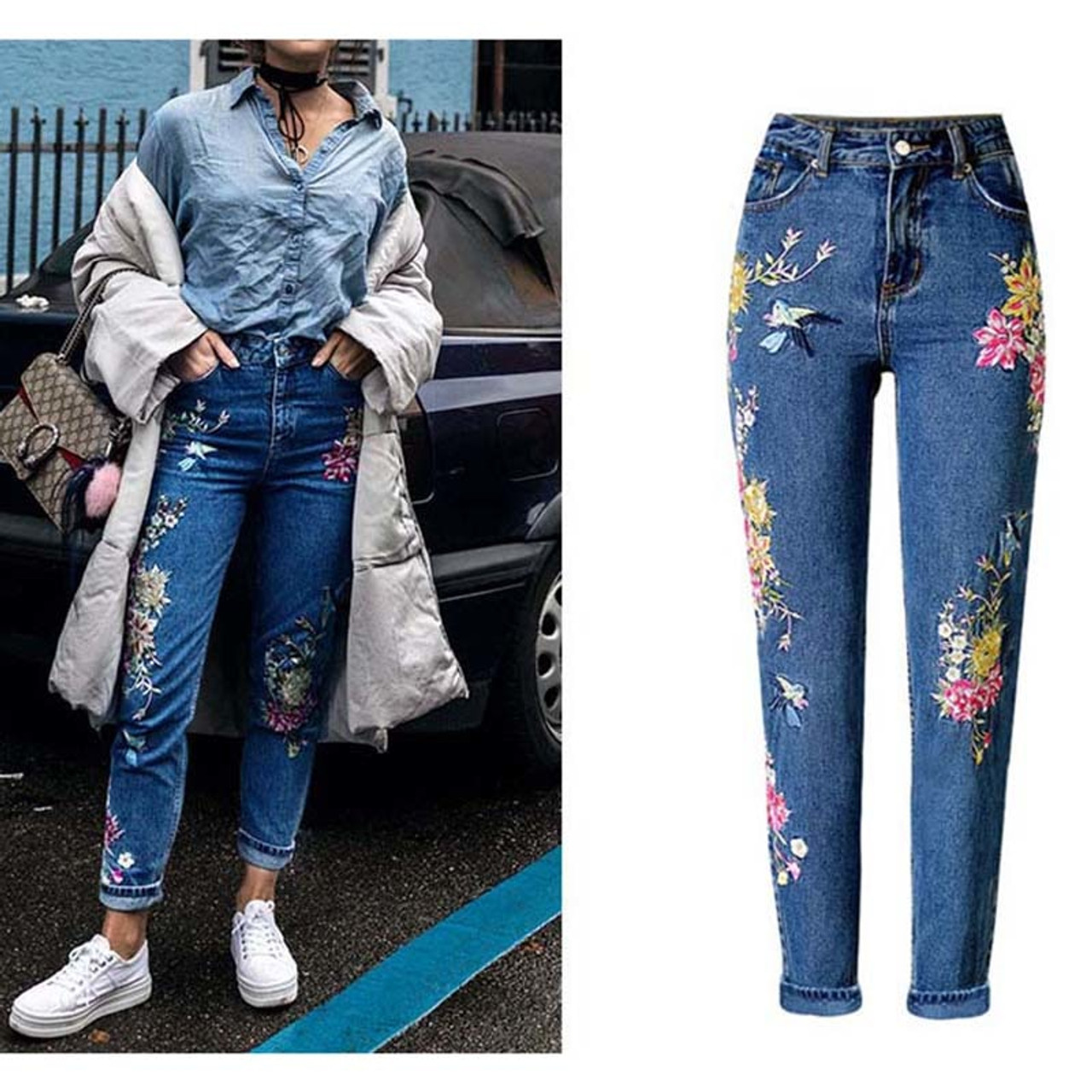9af363dfd New Fashion Clothes Women Denim Pants Straight Long Jeans Pants 3D Flowers  Embroidery High Waist Ladies Jeans Legging Trousers - OnshopDeals.Com
