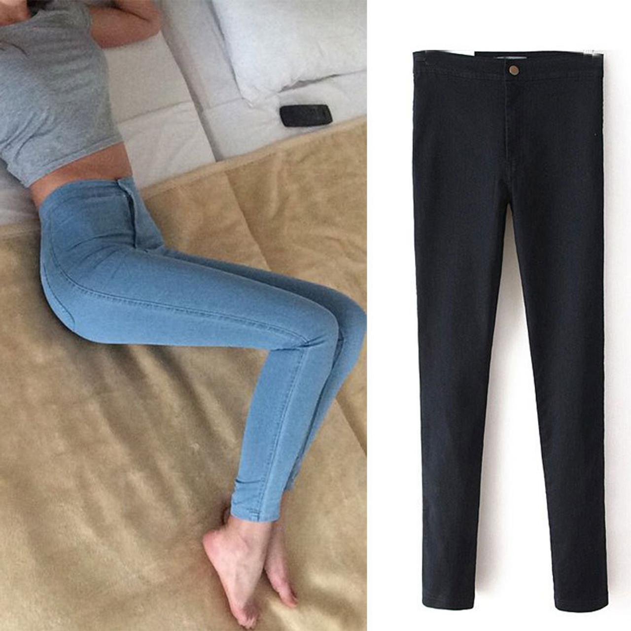 f5ea5949978a3d Eastdamo Slim Jeans For Women Skinny High Waist Jeans Woman Blue Denim  Pencil Pants Stretch Waist ...